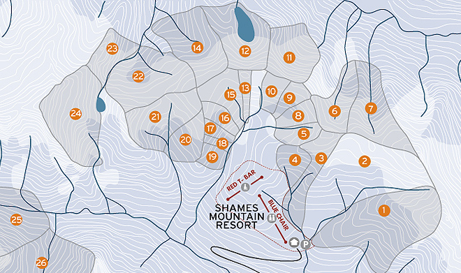 Shames Mountain Backcountry Skiing Terrace BC - Map of the us mountains