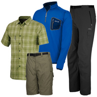 Sherpa Adventure Gear Hero Tee, Karnali Shirt, Sonam Quarter Zip, Koshi Shorts and Saba-Tek Pants